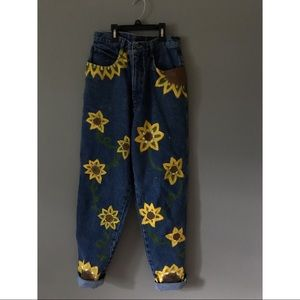 hand painted sunflower jeans